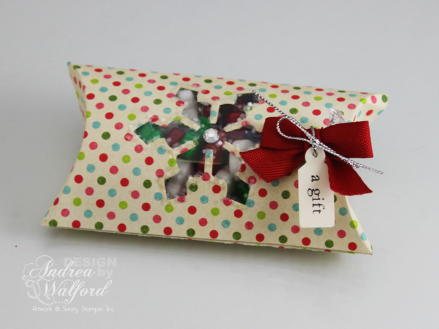 Holiday Pillow Box Treat Holder with Spellbinders Snowflake Window by Andrea Walford
