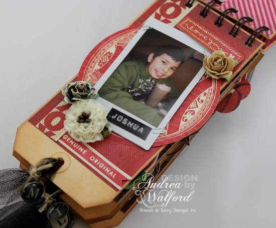 And Then There Were Five Mini Scrapbook Album  by Andrea Walford Page About Joshua