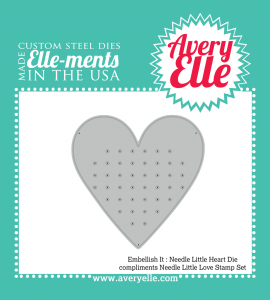 needle little love heart die