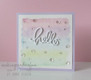 Laura Steryk Hello Card with clear sequins