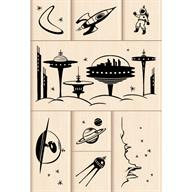 Outer Space Wood Stamps by Inkadinkado