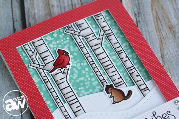 Keep it CASual #5 - Joyful Wishes Card detail close up featuring Lawn Fawn Joy To the Woods - by Andrea Walford